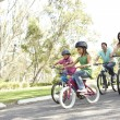 Young Family Riding Bikes In Park - ストック写真