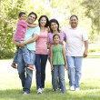Extended Family Group Walking In Park — Stockfoto