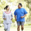 Stock Photo: Senior Couple Jogging In Park
