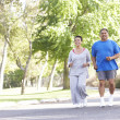 Senior Couple Jogging In Park — Stockfoto