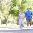 图库照片: Senior Couple Jogging In Park
