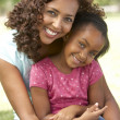 Foto Stock: Portrait Of Mother And Daughter In Park