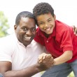 Portrait Of Father And Son In Park — Stock Photo