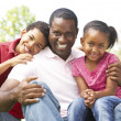 Father With Children In Park — Stock Photo #4822559