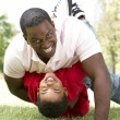 Portrait of Happy Father and Son In Park — Stock Photo #4822563