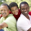 Grandfather With Son And Grandson In Park — Stock Photo