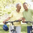 Senior Couple Riding Bikes In Park — Stock Photo #4822667
