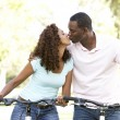 Couple On Cycle Ride in Park — Stock Photo