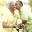 Stock Photo: Senior Couple Riding Bikes In Park