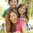 Mother And Children Enjoying Day In Park - Stock Photo