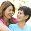 Senior Woman With Adult Daughter In Park — Stock Photo