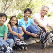 Grandparents With Grandchildren Putting On In Line Skates In Par - Stock Photo