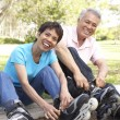 Senior Couple Putting On In Line Skates In Park — Stock Photo #4822875