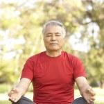 Senior Man Doing Yoga In Park — Stock Photo #4822901