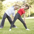 Senior Couple Exercising In Park — Stock Photo #4822908