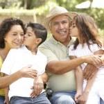Portrait Of Grandparents With Grandchildren In Park — Stock Photo