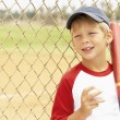 Young Boy Playing Baseball - Stok fotoraf