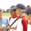 Young Boys In Baseball Team With Coach — Stock Photo #4823116
