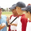 Young Boys In Baseball Team With Coach — Stock Photo #4823121
