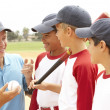 Stock Photo: Young Boys In Baseball Team With Coach