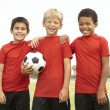 Young Boys In Football Team Celebrating — Stock Photo