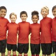 Stok fotoğraf: Young Boys And Girls In Football Team