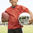 Young Boy Playing American — Stock Photo