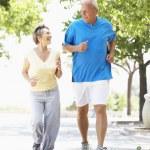 Senior Couple Jogging In Park — Stock Photo #4823243
