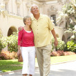 Senior Couple Walking Through City Street — Stock Photo