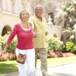 Senior Couple Walking Through City Street — Stock Photo