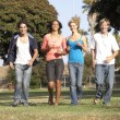 Group Of Teenagers Running In Park — Stock Photo