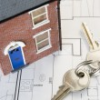 House With Keys And Plans — Stockfoto