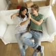 Couple moving into new home - Foto Stock