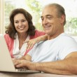 senior couple using laptop zu hause — Stockfoto