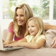Mother And Daughter Using Laptop At Home — Stock Photo #4823835