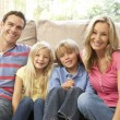 Family Relaxing At Home Together — Stock Photo