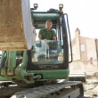 Construction Worker Using Digger — Stock Photo