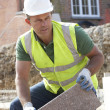 Stock Photo: Construction Worker Laying Blockwork