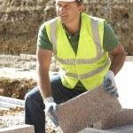 Construction Worker Laying Blockwork — Stock Photo