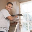 Plasterer Working On Interior Wall — Stock Photo