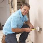 Electrician Installing Wall Socket — Stock Photo