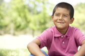 Portrait Of Young Boy In Park — Stockfoto