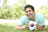 Portrait Of Young Man In Park With Football — Stock Photo