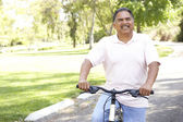 Senior Man Riding Bike In Park — Стоковое фото