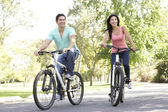 Young Couple Riding Bike In Park — Stock Photo