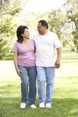 Starší pár, procházky v parku — Stock fotografie