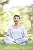Senior Woman Doing Yoga In Park — Stockfoto