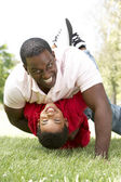 Portrait of Happy Father and Son In Park — Foto Stock