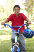 Boy Riding Bike In Park — Stock Photo