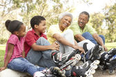 Grandparent With Grandchildren Putting On In Line Skates In Park — Stock Photo